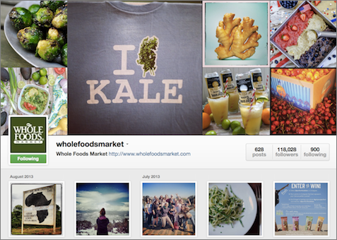 Whole Foods Market's photos are relevant to their brand.
