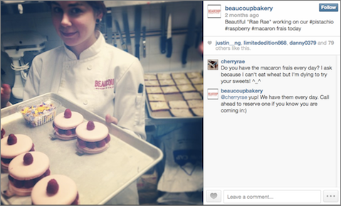 A member of #beaucrew at Beaucoup Bakery.