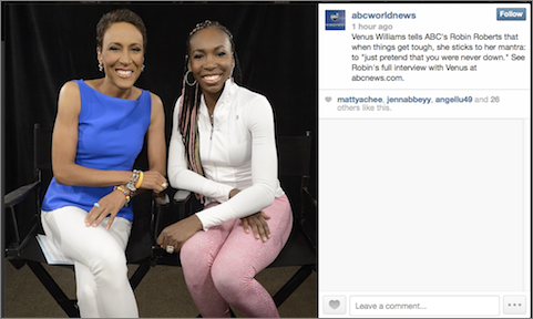 ABC News shared hours earlier that Robin Roberts would be interviewing Venus Williams.